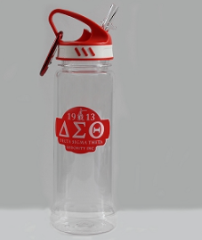 Delta Sigma Theta Water Bottle with Carabiner Hook
