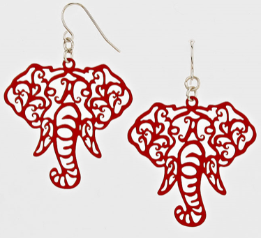 ELEPHANT CUT OUT EARRINGS- CRIMSON