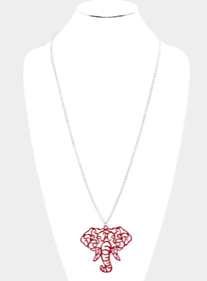 ELEPHANT PENDANT LONG NECKLACE- CRIMSON
