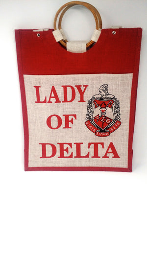 Delta Sigma Theta Large Jute Tote w/Front Pocket