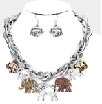 Elephant Multi-Charm Necklace and Earring Set