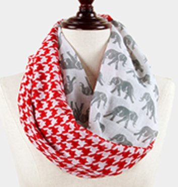 Elephant & Houndstooth Infinity Scarf