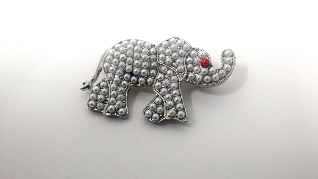 Elephant Pearl Pin Brooch