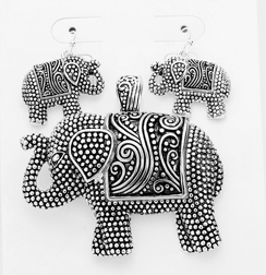 Embossed Metal Elephant Magnetic Pendant and Earring Set
