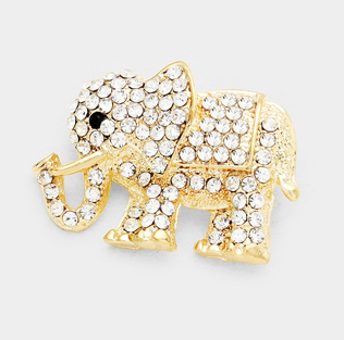 Crystal Elephant Pin Brooch - Gold