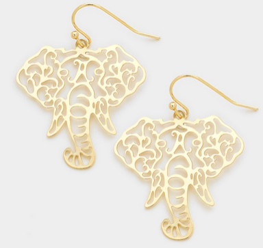 ELEPHANT CUT OUT EARRINGS- GOLD
