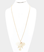 ELEPHANT PENDANT LONG NECKLACE- GOLD