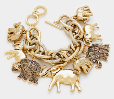 ELEPHANT MULTI-CHARM TOGGLE BRACELET- GOLD