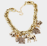 ELEPHANT FRINGE CHAIN NECKLACE- GOLD