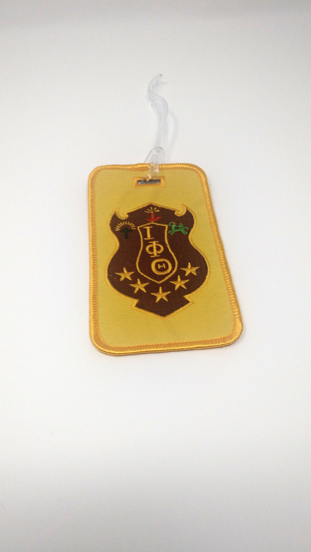 This Iota Phi Theta embroidered shield luggage tag is the perfect travel mate. Shield on one side and clear pocket on other side for identification.