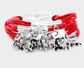 Leather Wrap Elephant Charm Bracelet