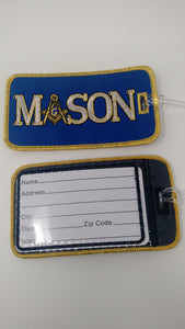 Mason Blue Embroidered Luggage Tag