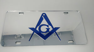 Mason Silver and Blue Mirror Auto Plate with Emblem