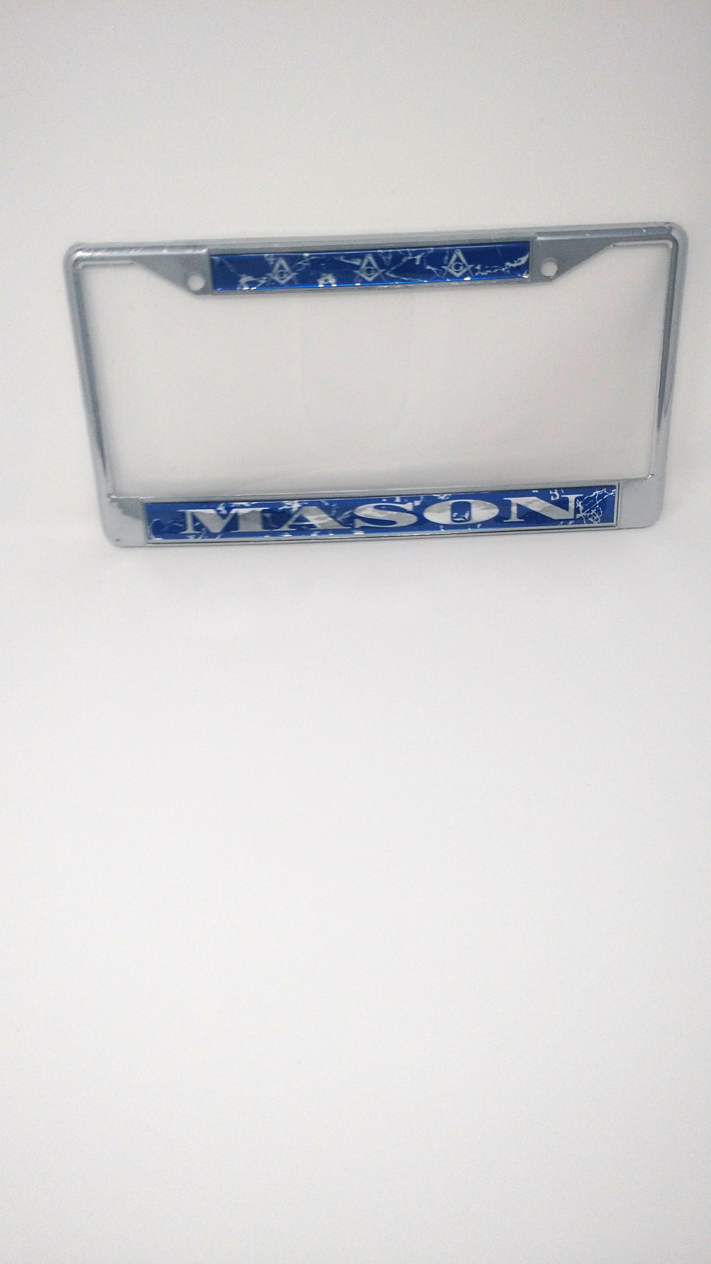 Mason License Plate Frame Silver and Blue