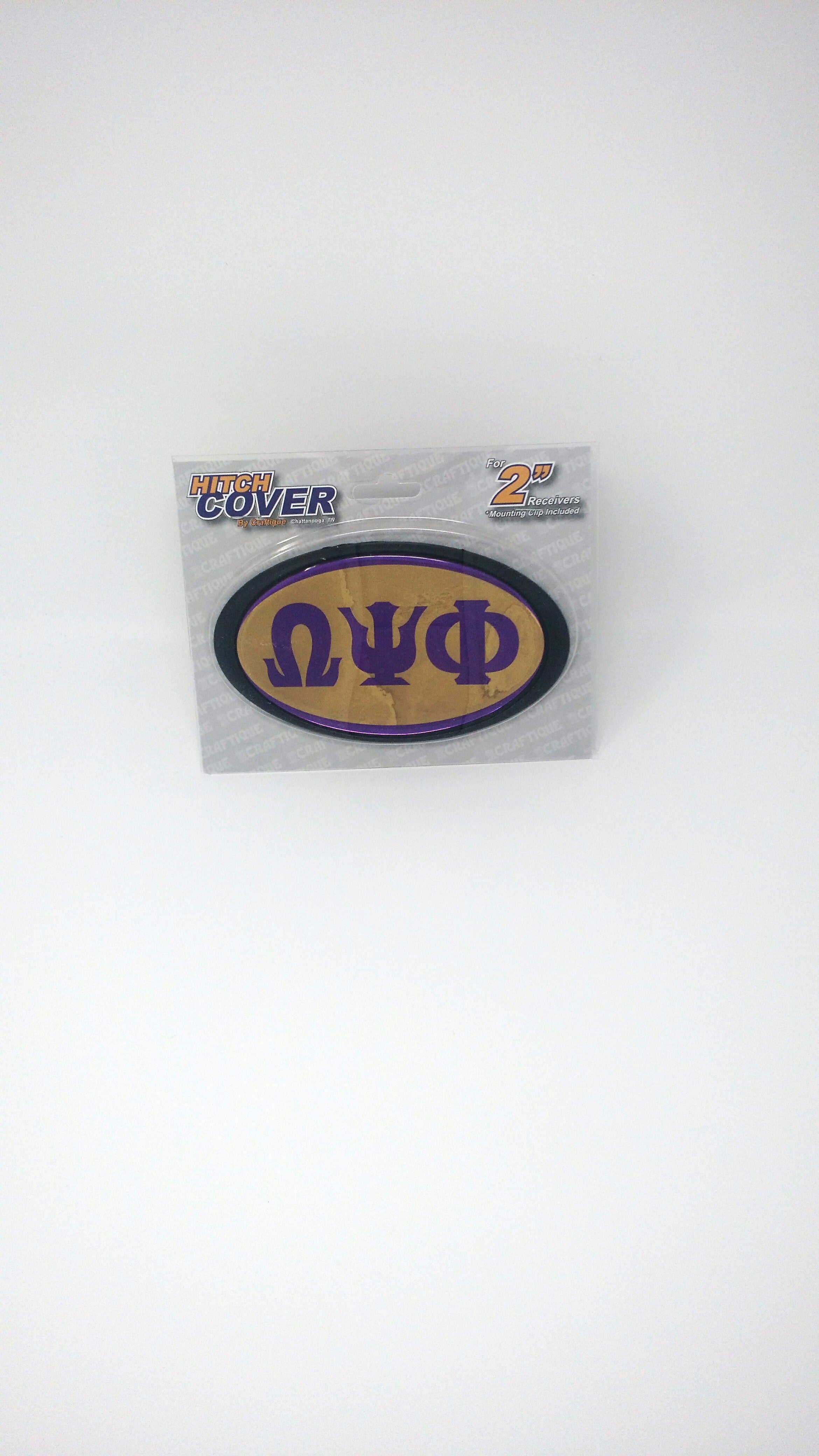 "Omega Psi Phi Car Hitch Cover. Standard 2"" hitch cover."