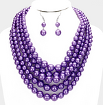 Multi-Strand Pearl Necklace - Purple