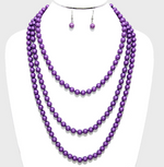 "72"" Pearl Long Necklace - Purple"