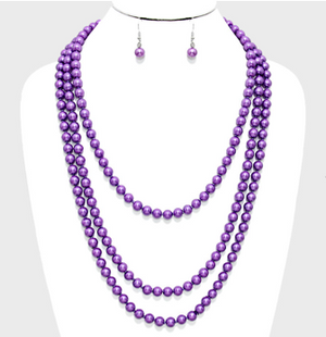 "84"" Pearl Long Necklace - Purple"