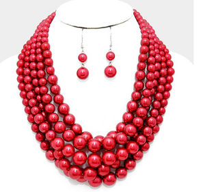 Multi-strand Pearl Necklace - Crimson