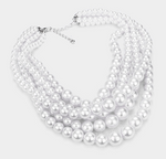 Multi-Strand Pearl Necklace - White