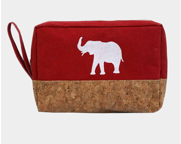 Elephant Print Canvas Cosmetic/Small Bag