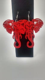 Red Elephant Wood Earrings