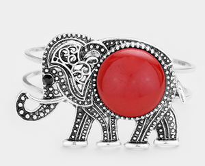 Embossed Metal Elephant Bracelet - Red