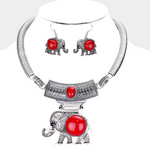 Embossed Metal Elephant Pendant Necklace and Earring Set- Red