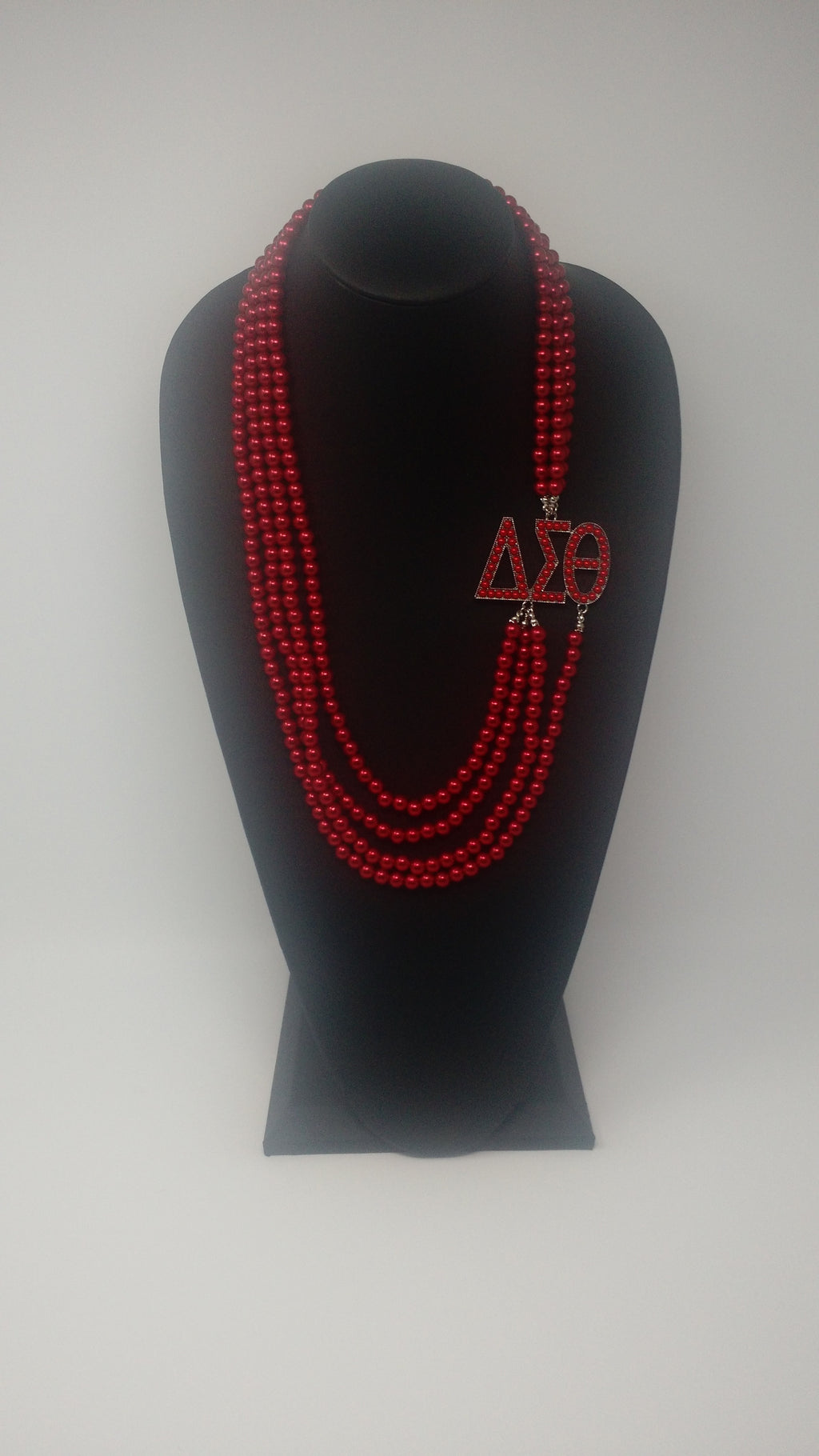 Delta Sigma Theta Greek Letter Pearl Necklace-Crimson