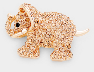 CRYSTAL ELEPHANT PIN BROOCH- ROSE GOLD