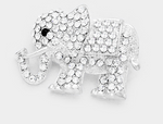 CRYSTAL ELEPHANT PIN BROOCH- SILVER