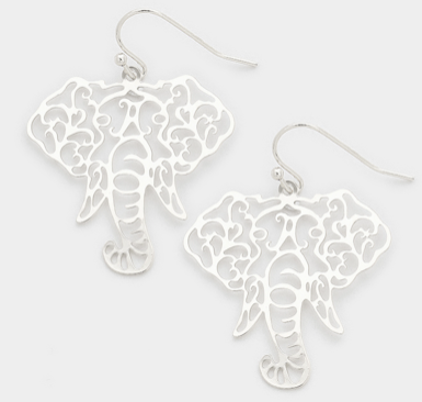 ELEPHANT CUT OUT EARRINGS- SILVER