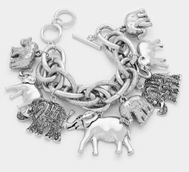 ELEPHANT MULTI-CHARM TOGGLE BRACELET- SILVER