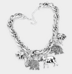 ELEPHANT FRINGE CHAIN NECKLACE- SILVER