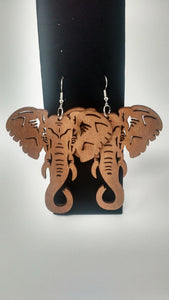 Elephant Wood Earrings - Tan or Brown