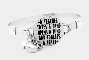 """A TEACHER TAKES..."" METAL DISC APPLE CHARM HOOK BRACELET"