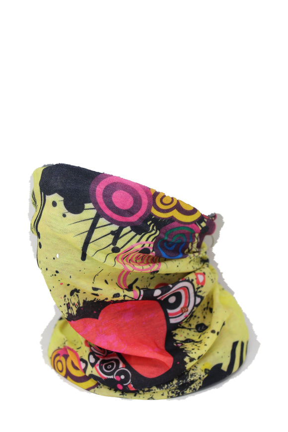 Multifunctional Neck Gaiter - Yellow Heart Design, Cool Light Weight