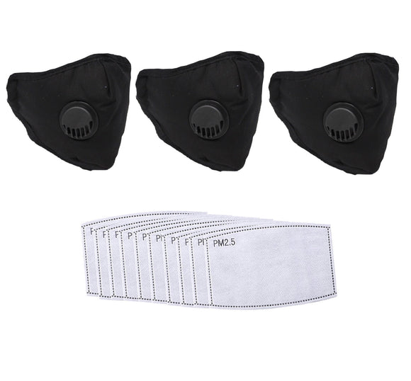 Face Protectors - 3-Pack - Black with 10 pcs PM 2.5 filters - Washable & Reusable -  Fits Most People Lightweight- In Stock - Great Savings!