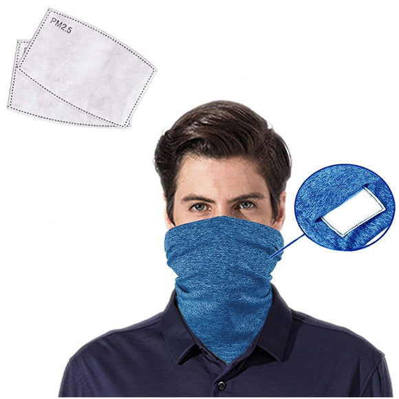 Neck Gaiter 2-Pack/Blue with Pocket for PM 2.5 Filter. High Premium Quality