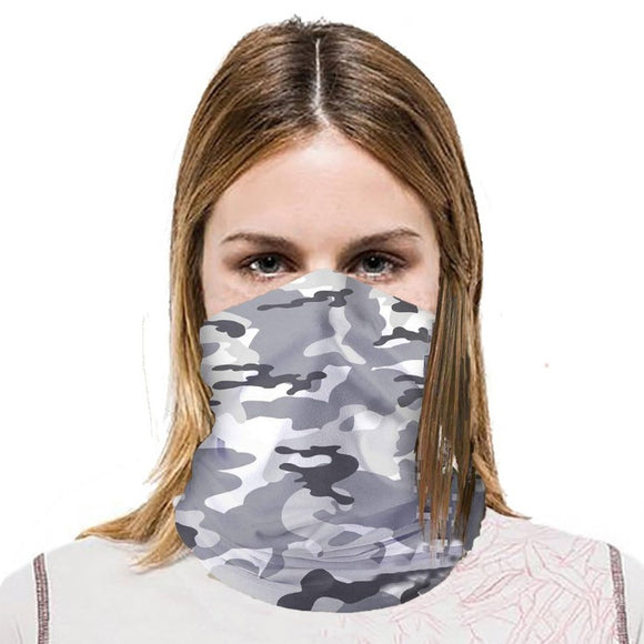 Scarf Bandanas Neck Gaiter - Grey/White, lightweight & comfortable to wear