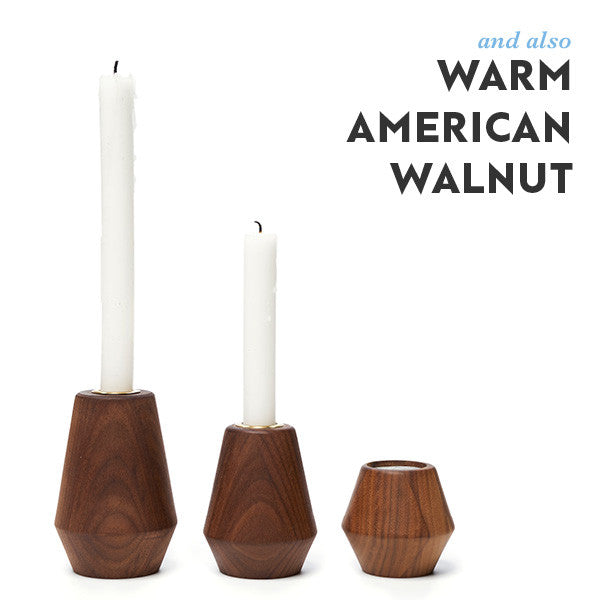 walnut candle holders