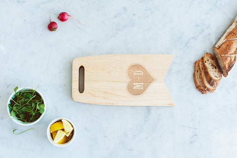 AHeirloom Couples Initials In A Heart 12x6 Cutting Board.jpeg