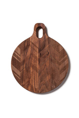 Round Hardwood Cutting Board with herringbone pattern