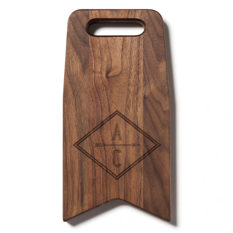 Monogram With An Arrow: 12x6 Cutting Board by AHeirloom