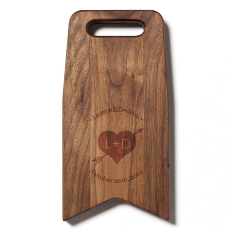 Engraved With A Heart and Arrow: 6x12 Cutting Board by AHeirloom