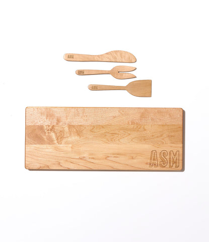 Engraved Monogram Cutting Board and Charcuterie Set by AHeirloom