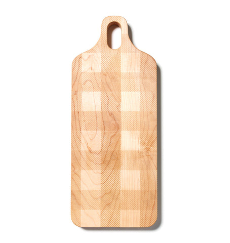 Large Plank Shaped Cutting Board with Plaid Pattern by AHeirloom