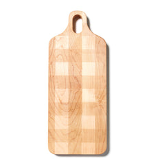 Large Plank Shaped Cutting Board with Plaid Pattern