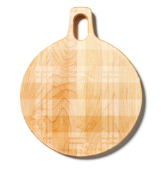 Round Hardwood Cutting Board with Plaid Pattern