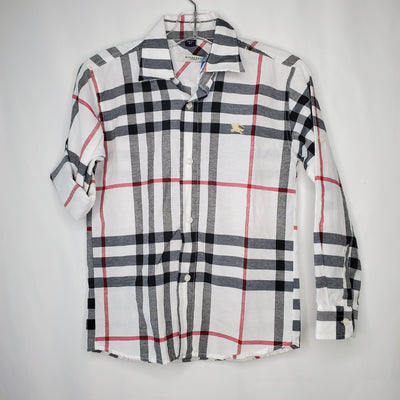 Boys Burberry Top, White/pl, size 6/7
